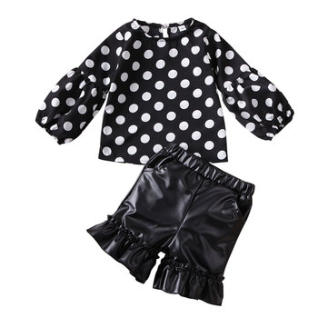 AA Toddler Baby Girl Clotehs Puffle Sleeve Polka-dot Tops Short PU Leather Skirt Children Kids Clothes Girls Sets Clothing 1-6Y image