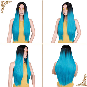 Ombre Blue Green Straight Long Synthetic Wigs For Women Black Pink Wigs 24 inch can be Cosplay Wigs Heat Resistant  I's a wig 4