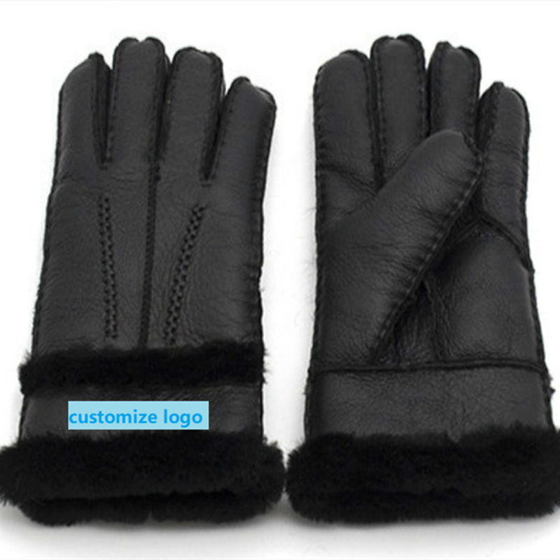 Free Shipping Winter Gloves 100% Pure Sheepskin Men And Women Couples Real Sheepskin Cashmere Warm Full Finger Leather Gloves