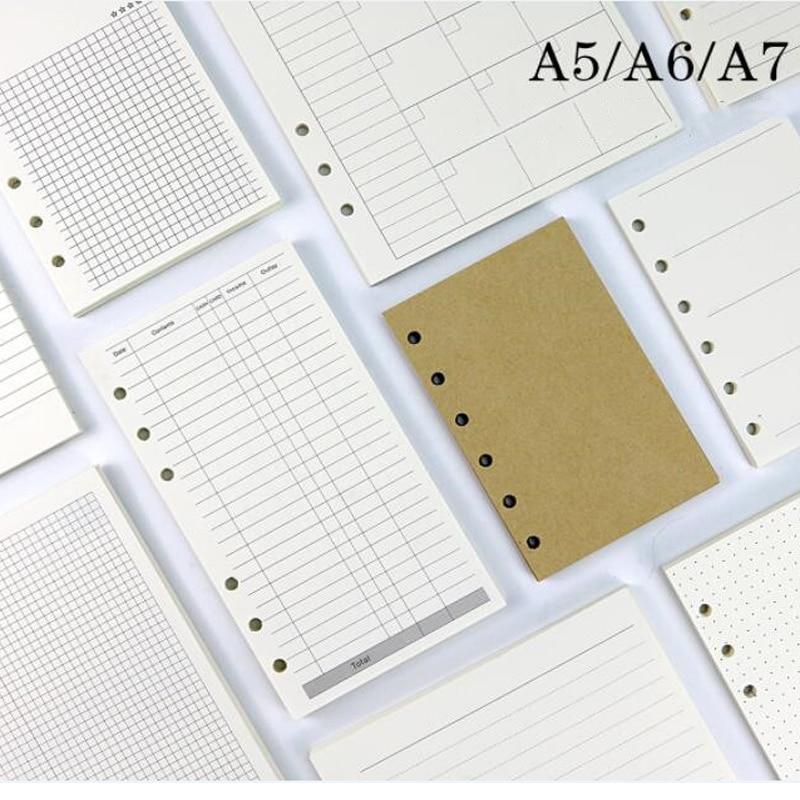 45 листов для делового блокнота A5 A6 со свободными листами, сменный спиральный индекс для переплетения внутри страницы ежемесячный недельный...