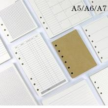 Hojas sueltas de recambio para cuaderno, accesorio de papelería con índice para archivador, para negocios y planes semanales o mensuales, A5 A6, 45 uds.
