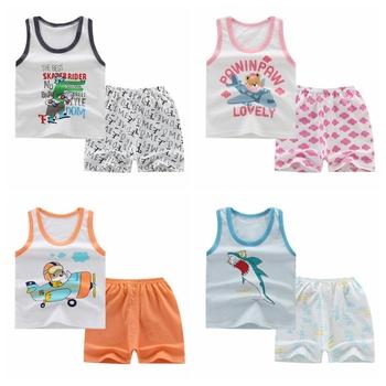 0-5t zestawy ubrań dla niemowląt letnie ubrania dla niemowląt chłopców niemowląt bawełniane chłopcy topy bez rękawów t-shirt + spodnie stroje zestaw ubrań dla dzieci tanie i dobre opinie Na co dzień COTTON REGULAR O-neck Unisex Pasuje prawda na wymiar weź swój normalny rozmiar Cartoon Swetry