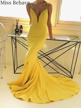 DD JYOY amarillo vestido de noche largo 2019 satén vestido de noche con tren diseño Simple Sexy abierto espalda vestidos formales