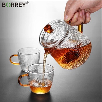 BORREY Teapot Glass Borosilicate Heat Resistant Glass Teapot Gas Stove Flower Puer Kettle Chinese Kung Fu Tea Set With Filter 1l 1 5l big transparent borosilicate glass teapot heat resistant large clear tea pot flower tea set puer kettle office home tool