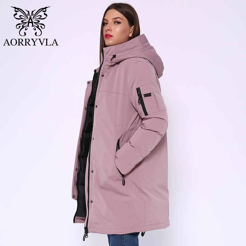 AORRYVLA 2019 Winter Long Jacket Women Hooded Parka Jacket  Windproof Collar Thick Warm Casual Winter Women's Fashion Jackets