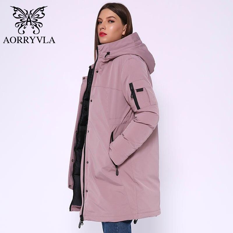 AORRYVLA 2019 Winter Long Jacket Women Hooded Parka Jacket  Windproof Collar Thick Warm Casual Winter Women's Fashion Jackets