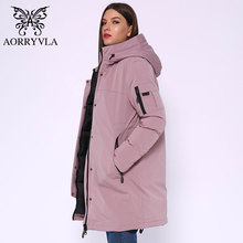 AORRYVLA 2019 Winter Long Jacket Women Hooded Parka Jacket Windproof Collar Thic