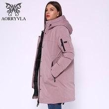 Женская длинная куртка с капюшоном AORRYVLA, теплая Повседневная куртка с ветрозащитным воротником, зима 2020