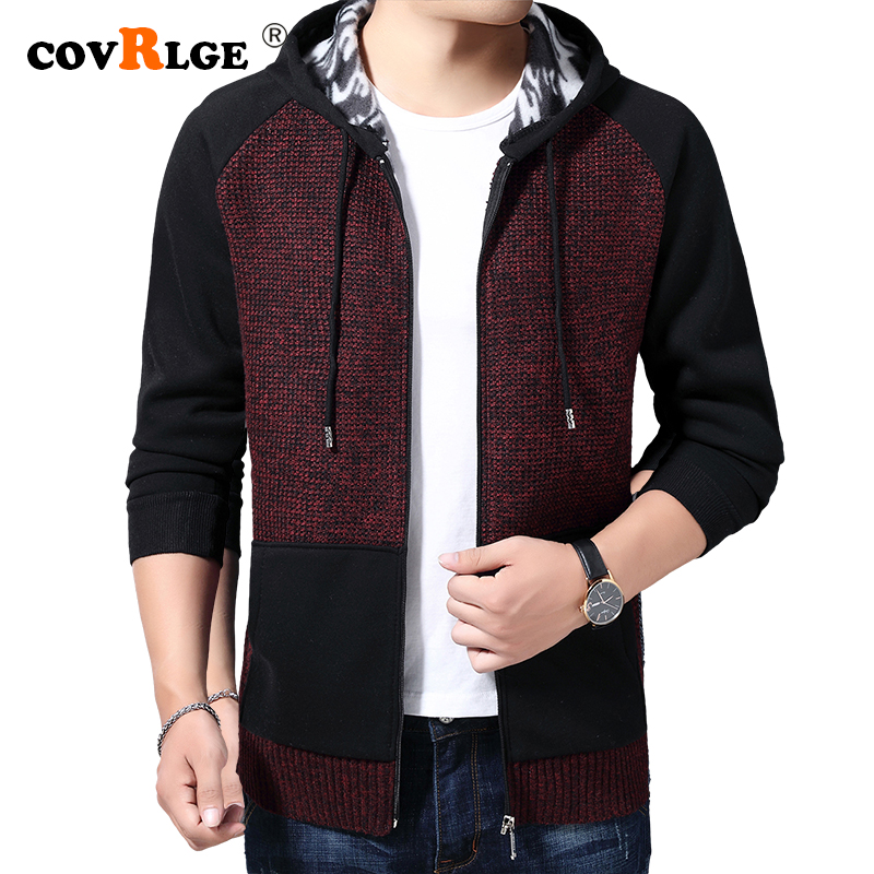 Sweater Coat Men 2019 Winter Thick Warm Hooded Cardigan Jumpers Men Patchwork Cashmere Wool Liner Zipper Fleece Coats Men MWK012