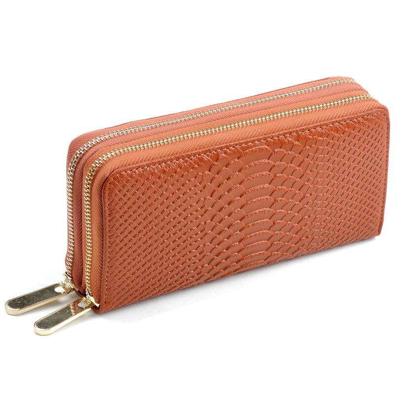 Fashion Women Wallet Genuine Leather Wallet Two Double Zipper Design Crocodile Grain Embossed Female Long Clutch Purse Money Bag