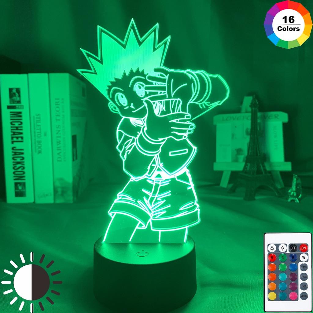 Crianças noite luz gon freecss figura led bateria powered nightlight para a criança decoração do quarto 3d lâmpada anime hunter x hunter presente