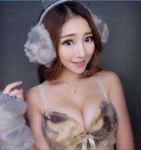 MS Ladies underwear sexy green Leopard style gathered bra bow adjustment collection breast underwear bra set lingerie