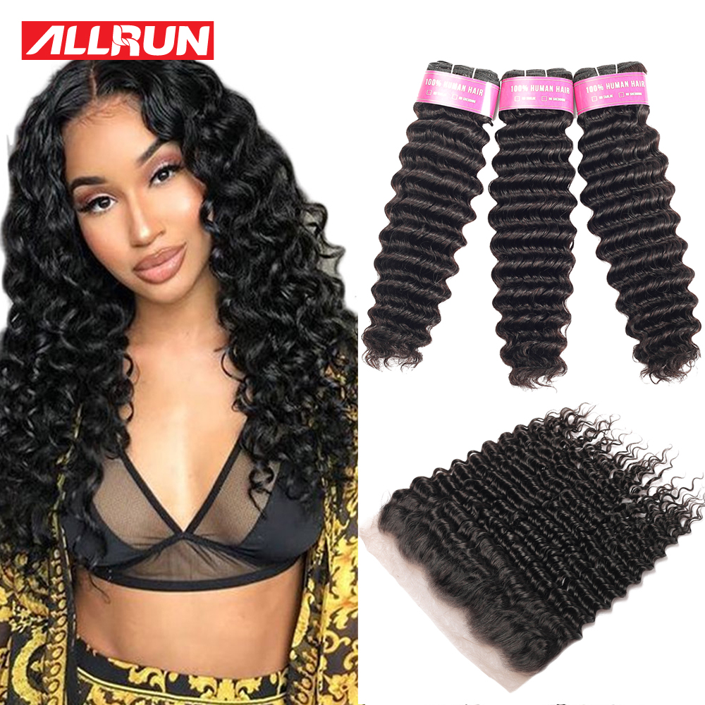 Allrun Deep Wave Bundles With Frontal Closure Brazilian Hair Weave Bundles Non Remy Human Hair Bundles With Closure 13*4 Frontal