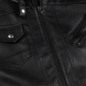 Image 5 - ホット販売秋冬オートバイの革のジャケット男性ウインドブレーカーフード付き pu ジャケット男性生き抜く暖かいフェイクレザージャケット 2020