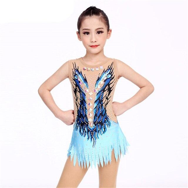 劉フオ女性新体操レオタードのパフォーマンススーツ体操ドレス光沢のあるラインストーンノースリーブ子供