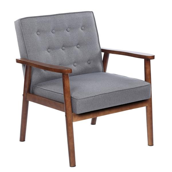 Retro Modern Fabric Upholstered Wooden Lounge Chair Home Garden Outdoor Sofa Chair