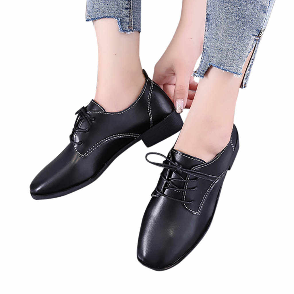 MUQGEW รองเท้าผู้หญิงใหม่แฟชั่น Cross-tied รองเท้า Lace-up Toe รองเท้ากีฬาลำลองรองเท้าเดี่ยว buty Damskie 2019 ฤดูใบไม้ร่วง