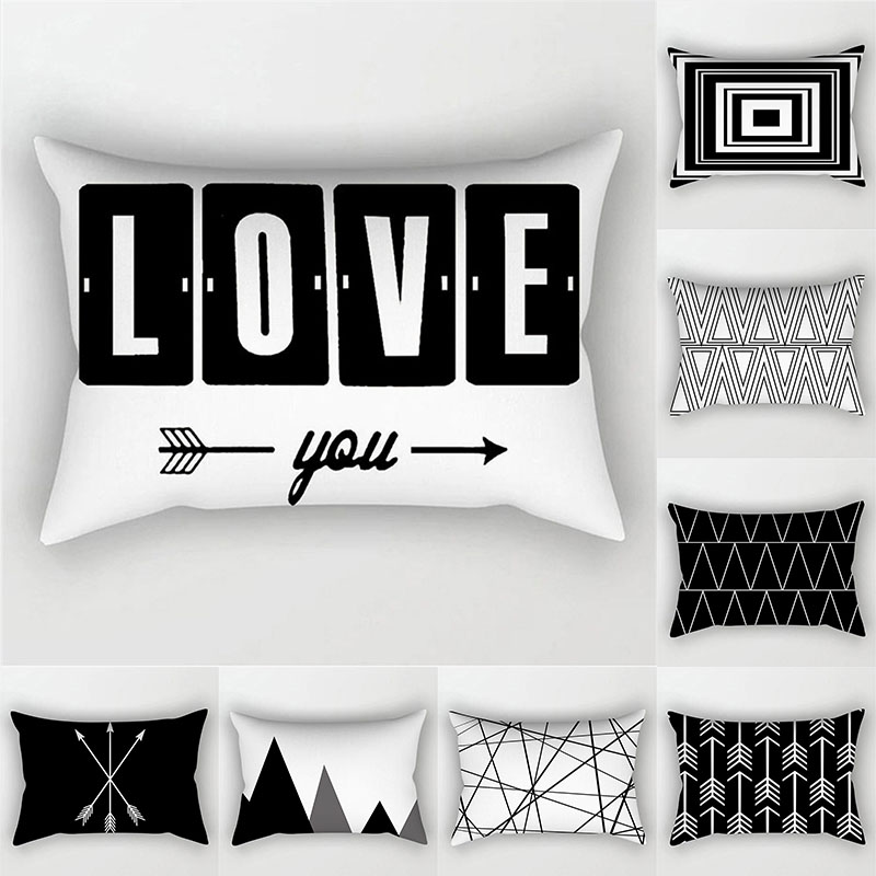 Black White Geometric Cushion Cover Throw Pillows Polyester Decorative Pillowcase 30x50 Nordic Style Home Decor Pillow Cases