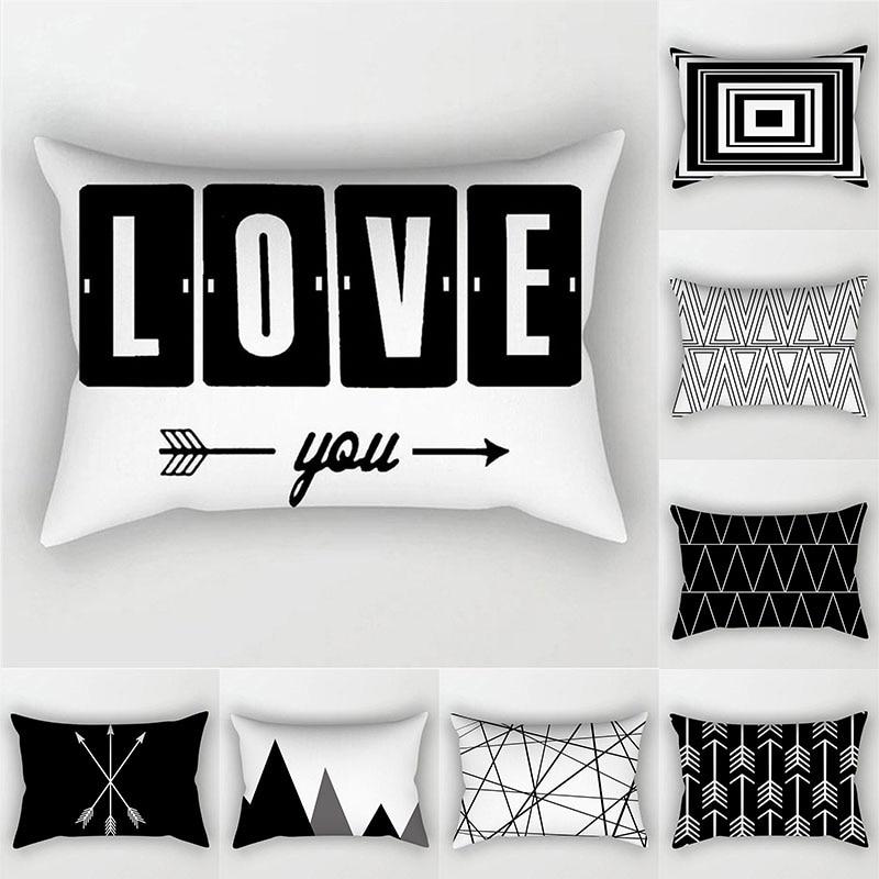 Black White Geometric Cushion Cover Throw Pillows Polyester Decorative Pillowcase 30x50 Nordic Style Home Decor Pillow Cases