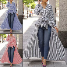 Goocheer Autumn Fashion New Women V Neck Lace up Chic Classic Asymmetrical Striped Long Sleeve Shirt Blouse Tunic Tops