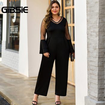 GIBSIE Black Elegant Office Lady V-Neck Wide Leg Jumpsuit Autumn Women Plus Size Mesh Patchwork Long Sleeve High Waist Jumpsuits