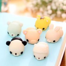 Mini Kawaii Animals Mochi Squishy Soft Phone Accessories Squeeze Stretchy Kids Toy Panda Chicken Duck Sheep Pig Rabbit Tiger(China)