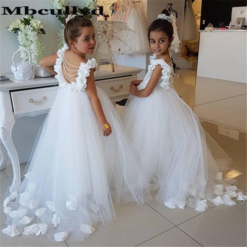 Mbcullyd Elegant O-neck White   Flower     Girl     Dresses   With Hand   Flowers   vestidos de primera comunion 2019 Pageant   Dress   for   Girls