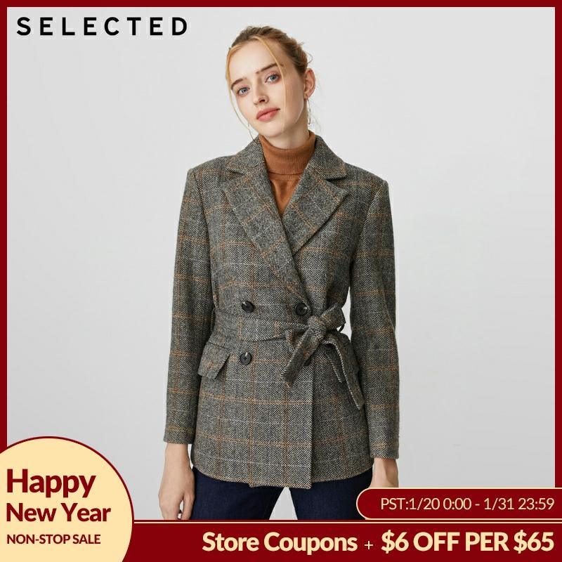SELECTED Women's Loose Fit Plaid Double-breasted Woolen Overcoat S|419408501