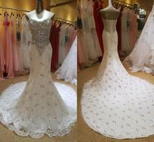 Luxurious Crystal Diamond Beaded Mermaid Wedding Dresses 2020 Sweetheart Lace Up Court Train Bridal Gowns robe de mariee