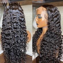 Wigirl malaio remy 13x4 frente do laço perucas de cabelo humano 28 30 Polegada 150% onda profunda longa peruca frontal para preto