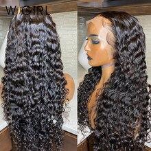 Wigirl malaio remy 13x4 frente do laço perucas de cabelo humano 28 30 Polegada onda profunda longa peruca frontal para preto