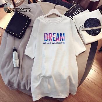 Women Dresses NEVER Series Letter Plus Size Black Mini Dress Loose Summer Long T Shirt Casual Clothes Femme Tops White Sukienka 29