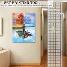 CHENISTORY Frameless Four Seasons Tree Landscape DIY Painting By Numbers Kit Paint On Canvas Painting Calligraphy For Home Decor(China)