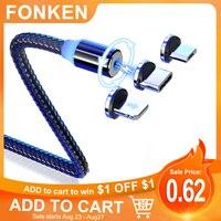 Fonken-Cable de carga magnético tipo C para móvil, Cable Micro USB para Samsung, Xiaomi, Iphone