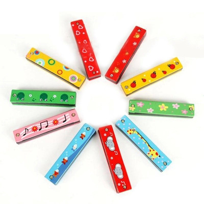 Orff Instruments 16 Hole Children Harmonica Color Wooden Playing Music Toy 0-1-2-3-Year-Old Kindergarten