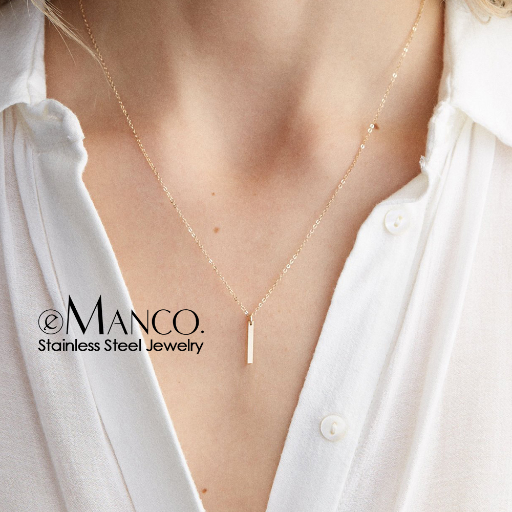 eManco 316L Stainless Steel Necklace for women Trendy Dainty Chokers Necklace Gold-color Fahion Jewelry