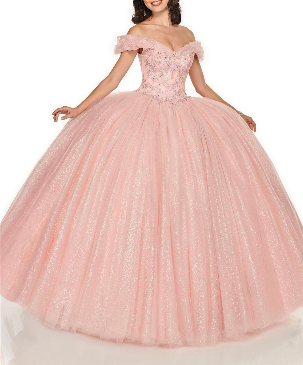 Sparkling Bling Sequins Crystals Beading Off The Shoulder Ball Gown Lace-Up Sweet 16 Dresses Quinceanera Gowns