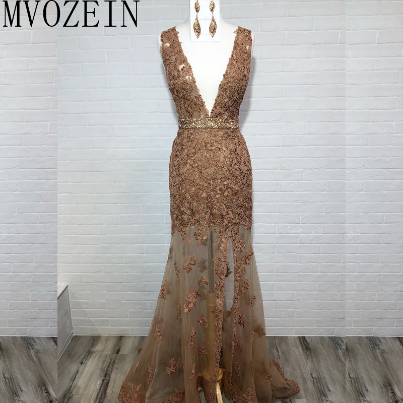 Brown Mermaid Evening Dress Deep V-Neck Sleeveless See Through Floor Length Evening Dresses Long Formal Party Gowns