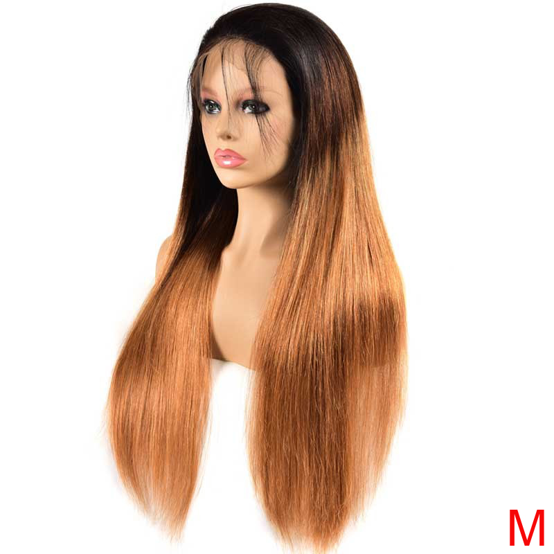Ombre Malaysian Straight Lace Front Wig 13x4 REMY Highlight PrePlucked Lace Front Human Hair Wigs With Baby Hair For Black Women