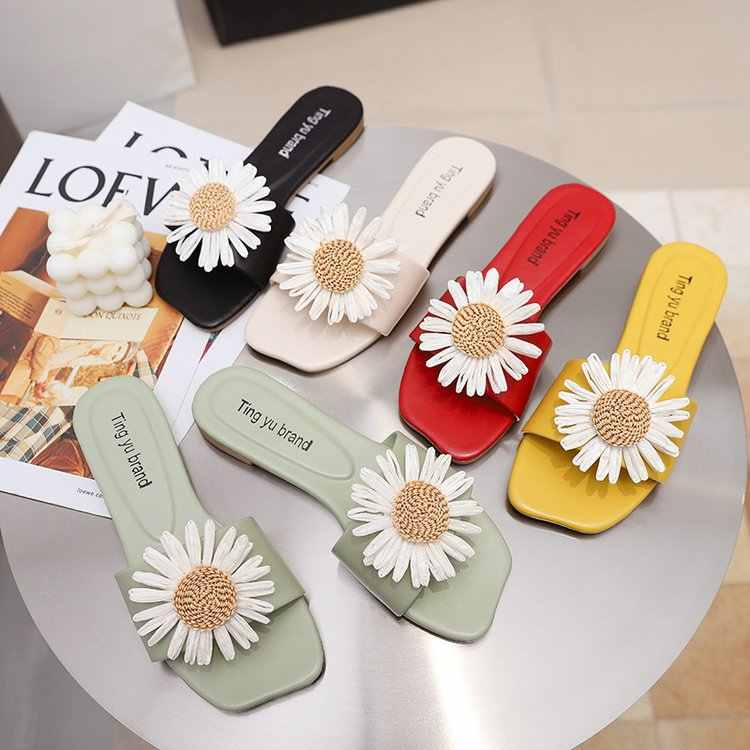 Fashion Daisy Slippers Outer Wear PU Flat Flowers Sandals Slippers Womens Slippers Indoor 35-40