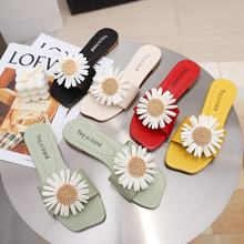 Fashion Daisy Slippers Outer Wear PU Flat Flowers Sandals Slippers Womens Slippers Indoor 35-40(China)