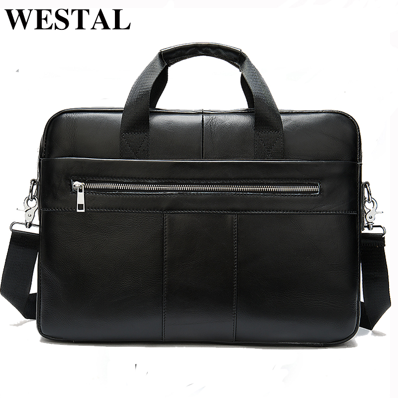 WESTAL Men's Genuine Leather Bag Men's Briefcase Leather Laptop Bag Office Bags For Men Business Briefcase Handbag For Document