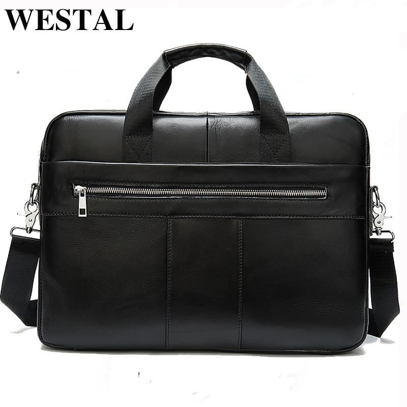 WESTAL Men's Genuine Leather Bag Men's Briefcase Leather Laptop Bag Office Bags For Men Business Briefcase Handbag For Document