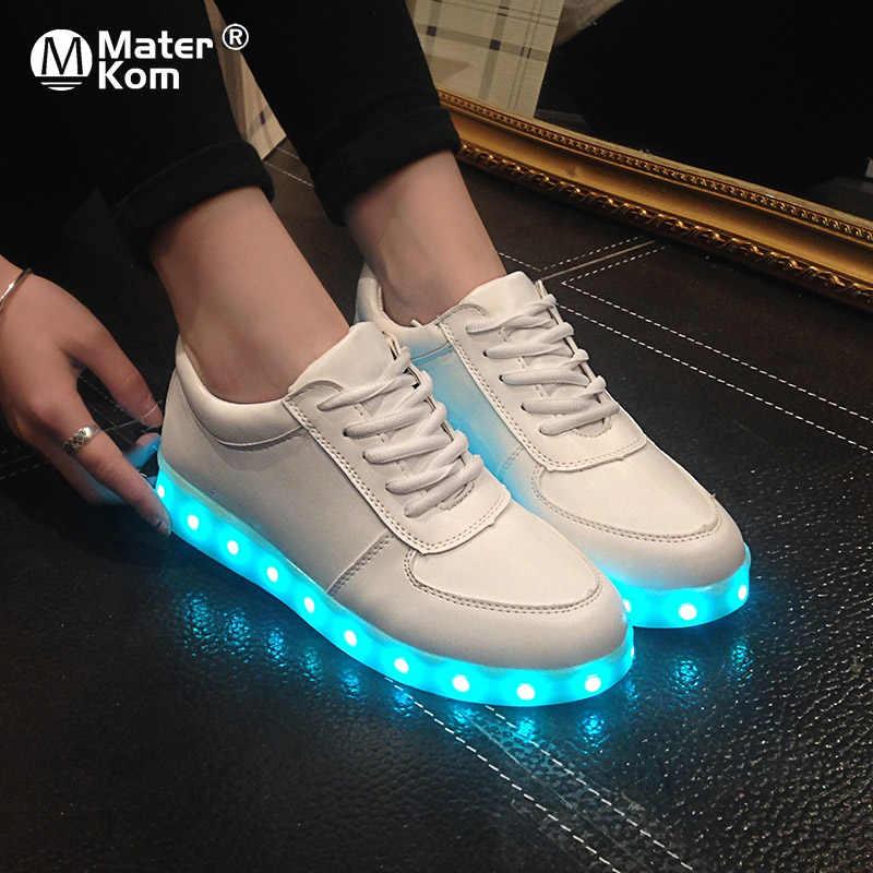 ขนาด 27-46 ผู้ใหญ่ Unisex สตรีและบุรุษ 7 สีเด็กรองเท้าผ้าใบส่องสว่างเรืองแสง USB ชาร์จรองเท้าเด็ก LED หญิงรองเท้ารองเท้าแตะ LED