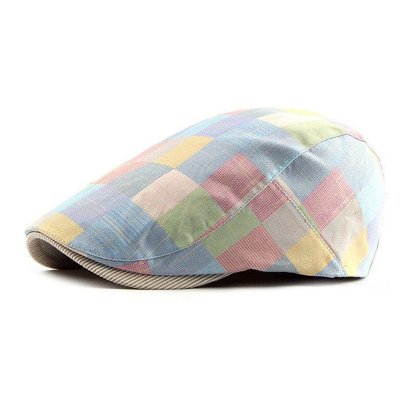 Spring Summer Color Plaid Newsboy Caps Men Cotton Flat Peaked Cap Women Painter Beret Hats 12