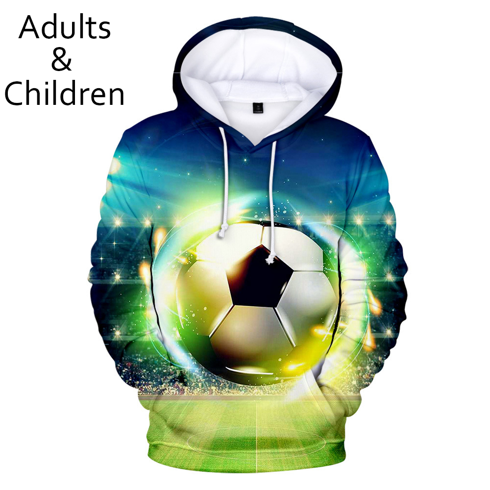 3D Football Soccer Hoodies Men Women Sweatshirts New Fashion Autumn Kids Hoodie Suitable 3D Boys Girls Hooded Casual Pullovers