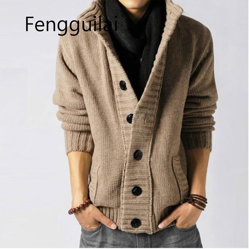 Winter Men's Casual Sweater Coat Turtleneck Thick Gray Knitted Cardigan Wool Long Sleeve Warm Tide Pirate Buckle Classic Jacket