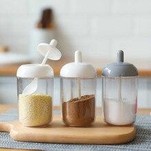 Пластиковая подставка для специй банка горшки для специй солевые банки хранилище специй контейнер перец приправа кухонная банка с ложка, кухонные принадлежности
