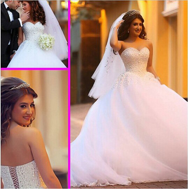 New Arrival Custom Made Sexy Sweetheart Beaded Pearls Ball Gowns Boho 2018 Plus Size Bridal Gown Mother Of The Bride Dresses