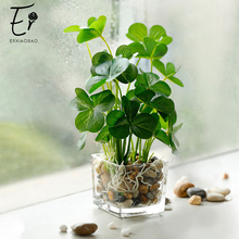 Erxiaobao Fake Grass Simulation Bonsai Potted Artificial Plants Leaf with Glass Pot Green Peperomia Clover Home Decoration